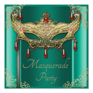 Gold Flourishes Ruby Mask Green Masquerade Party Card
