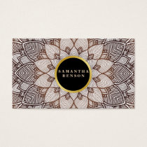 Gold  Flower Mandala Pattern Yoga Instructor Business Card