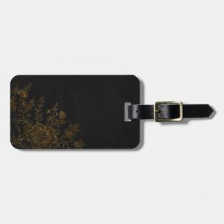 Gold Flower on Black Background Bag Tag