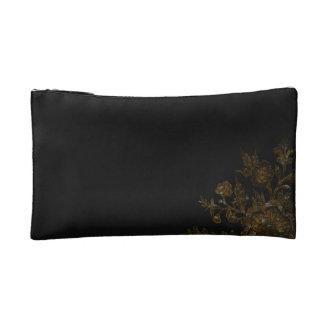 Gold Flower on Black Background Makeup Bag
