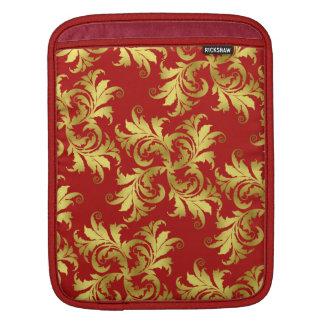 Gold flower ornament iPad sleeves