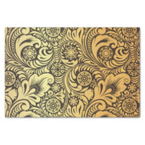 Gold Flower Pattern Design Tissue Paper