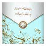 Gold Flower Pearl Teal 50th Wedding Anniversary Card