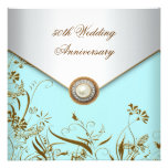 Gold Flower Pearl Teal 50th Wedding Anniversary Announcements