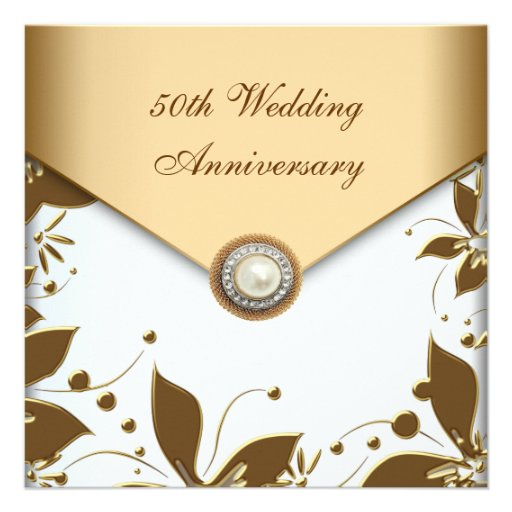 Gold Flower Pearl White 50th Wedding Anniversary Square