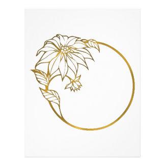 GOLD FLOWER PHOTO FRAME, CUSTOM IMAGE MONOGRAM LETTERHEAD