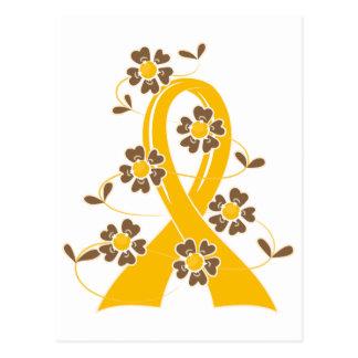 Gold Flower Ribbon 2.1 Childhood Cancer Postcard