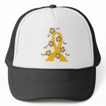 Gold Flower Ribbon 2.1 Childhood Cancer Trucker Hat