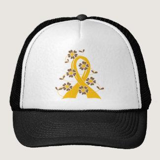 Gold Flower Ribbon 2.1 Childhood Cancer Trucker Hat