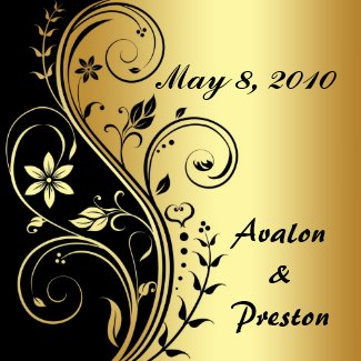 Gold Flower Scrollwork Save The Date Magnet magnet