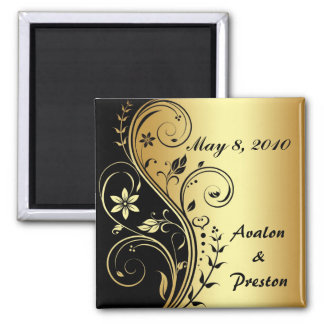 Gold Flower Scrollwork Save The Date Magnet