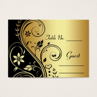Gold Flower Scrollwork Wedding Table Place Card