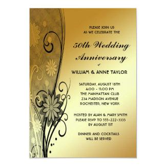 Gold Flower Swirls 50th Anniversary Invitations