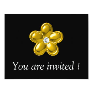 GOLD FLOWER WITH DIAMOND 4.25X5.5 PAPER INVITATION CARD