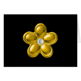 GOLD FLOWER WITH DIAMOND CARD