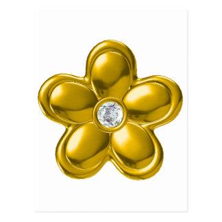 GOLD FLOWER WITH DIAMOND POSTCARD