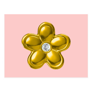 GOLD FLOWER WITH DIAMOND POSTCARD
