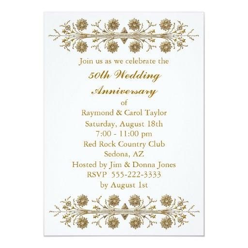 Gold Flowers 50th Wedding Anniversary Card Zazzle