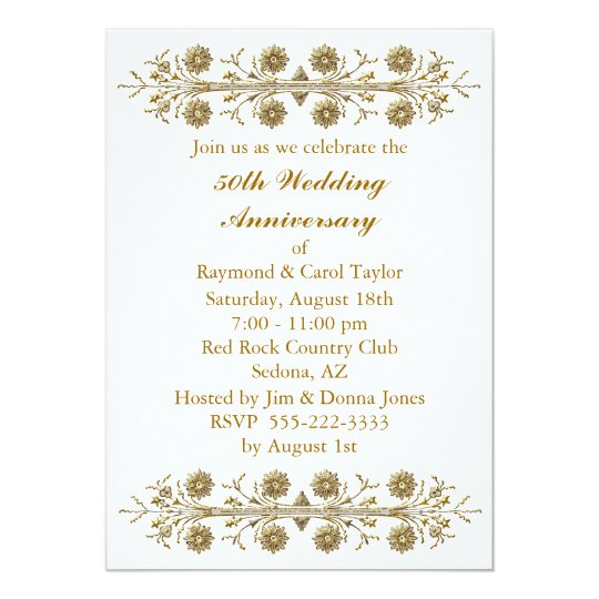 gold flowers 50th wedding anniversary card zazzle. Black Bedroom Furniture Sets. Home Design Ideas