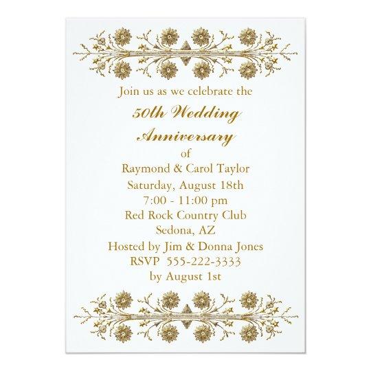 Gold Flowers 50th Wedding Anniversary Card