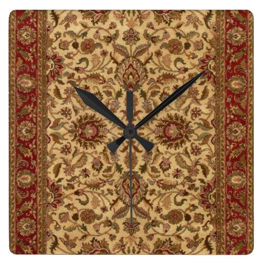 Gold Flowers Arabesque oriental tapastery Clock