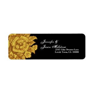 GOLD Flowers Black Background Address Label
