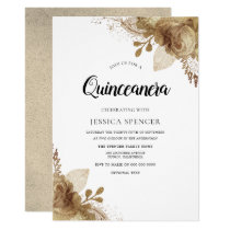 Gold Flowers Elegant Quinceanera Party Invite
