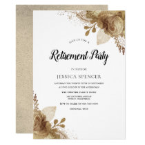 Gold Flowers Elegant Retirement Party Invite