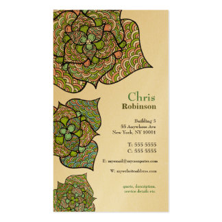 Gold Flowers Floral Stylish Printed Business Card