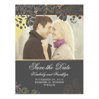 Gold Flowers Grey Vintage Photo Save the Date Postcard