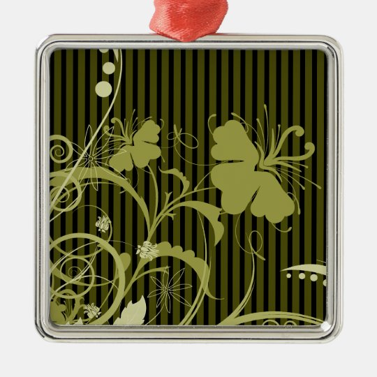 Gold Flowers on Brown and Black Stripes Metal Ornament