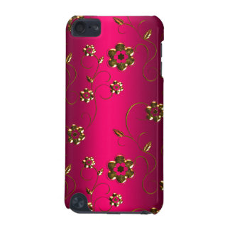 Gold Flowers on Pink iPod Touch (5th Generation) Cover