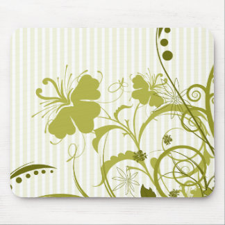 Gold Flowers on Stripes Mouse Pad