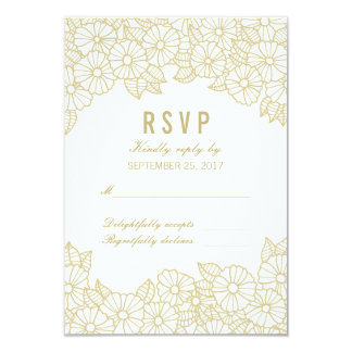 Gold Flowers on White Response RSVP Card