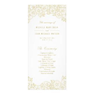 Gold Flowers on White Wedding Program Rack Cards