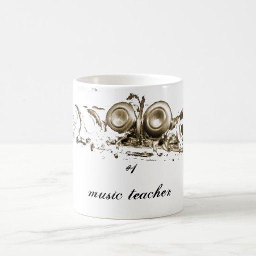gold flute, #1 music teacher coffee mugs