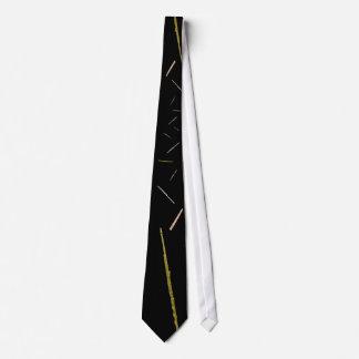 gold flutes on black neck tie