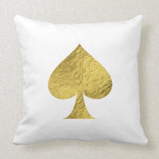 Gold Foil Ace of Spades Throw Pillow