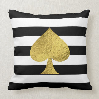 Gold Foil Ace of Spades Throw Pillow