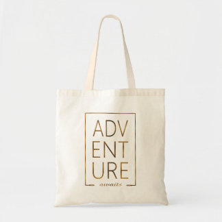 "Gold Foil ""ADVENTURE awaits"" Typography Tote Bag"