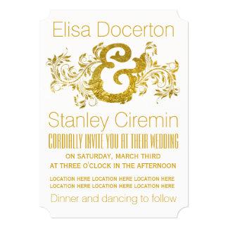 Gold foil ampersand and scroll leaf floral wedding card