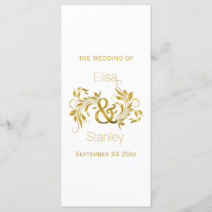 gold scroll wedding programs zazzle