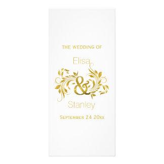 Gold foil ampersand and scroll wedding program rack card