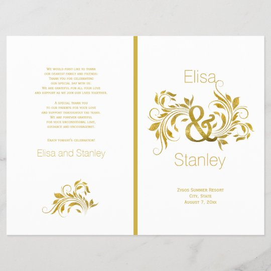 gold foil ampersand scroll leaf wedding program zazzle com
