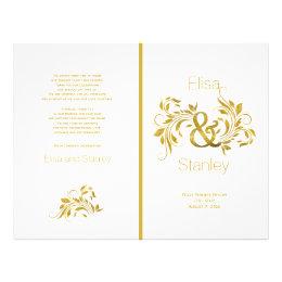 Gold foil ampersand scroll leaf wedding program