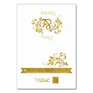 Gold foil ampersand & scroll wedding escort card