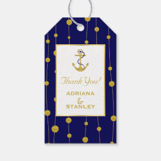 Gold foil anchor and beads modern navy nautical pack of gift tags