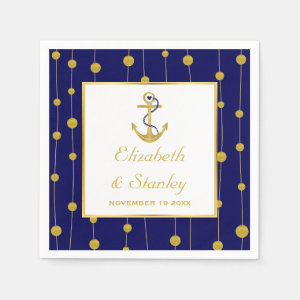 Gold foil anchor nautical modern wedding paper napkin