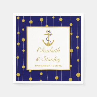 Gold foil anchor nautical modern wedding paper napkin