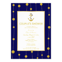 Gold foil anchor nautical wedding couple's shower invitation